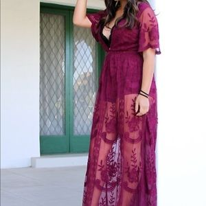 M Honey Punch dark magenta lace maxi dress